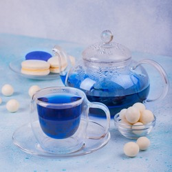 Blue tea Butterfly pea or anchan in glass teapot and cup with macarons and candies on blue background