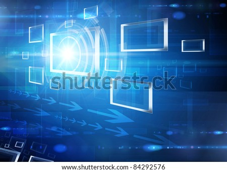 Blue tech square abstract background