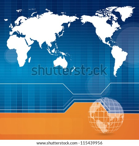 Blue technology background with world map