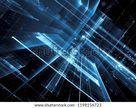 Blue tecnology background - abstract computer-generated image. Digital art: futuristic design with inclined glass walls. For banners, covers, posters Foto stock ©