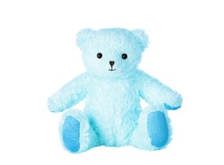 Blue teddy bear isolated on white background.