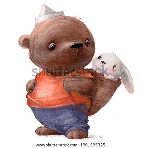 blue teddy bear with little white hare