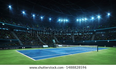 Blue tennis court and illuminated indoor arena with fans, court view, professional tennis sport 3d illustration background