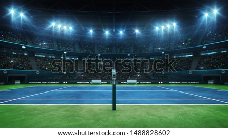 Blue tennis court and illuminated indoor arena with fans, referee side view, professional tennis sport 3d illustration background