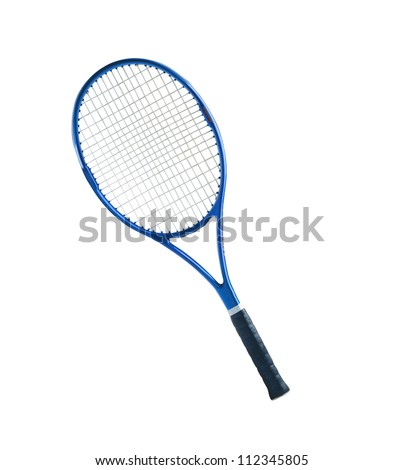 Blue tennis racket isolated white background