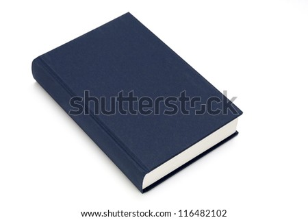 blue textbook closed isolated on white background