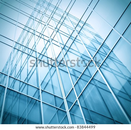 blue texture of glass transparent skyscrapers