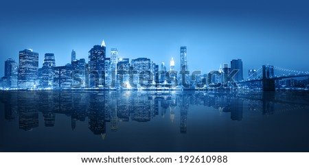 Blue themed panoramic view of New York city. #192610988