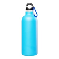 Blue Thermos Flask Isolation Bottle Isolated on White Background. Travel Mug in Stainless Steel with Double-Walled & Fixing Snap Hook. Beverage Bottle to Keep Cold and Warm Drinks. Modern Kitchenware