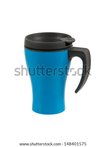Blue thermos isolated on a white background
