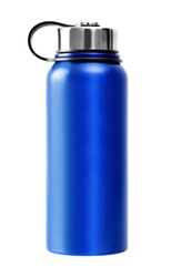 Blue thermos, thermobox, on white background, isolated