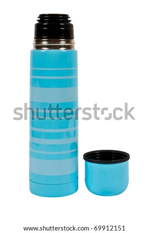 blue thermos with a mug over white
