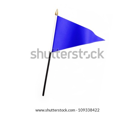 Blue three cornered flag isolated on white background