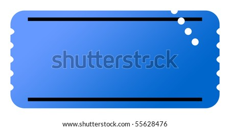 Blue ticket with copy space, isolated on white background.