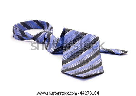 Blue tie, white background isolated.
