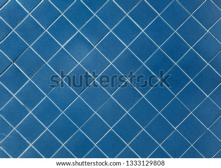 blue tile wall with square mosaic tiles texture background  #1333129808