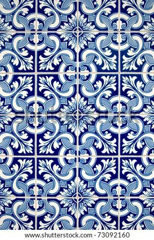 Blue tiles detail of Portuguese glazed.