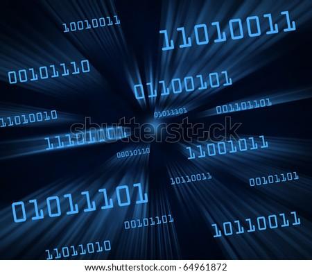 Blue tilted bytes of binary code flying through a vortex. Horizontal