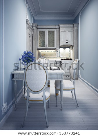 Blue tiny kitchen with classic white furniture. 3D render