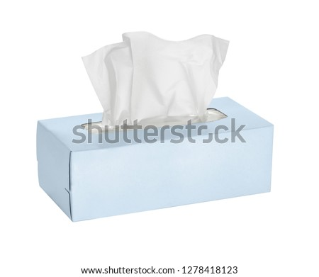 Blue tissue box isolated on white background - Image