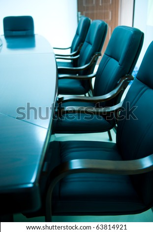 blue tone of empty boardroom or meeting room.