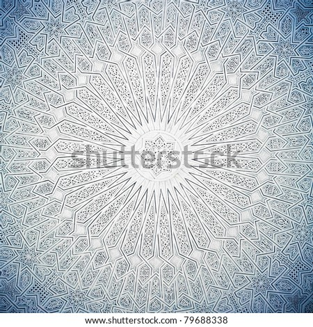 blue toned shot of arabian ceiling - stock photo