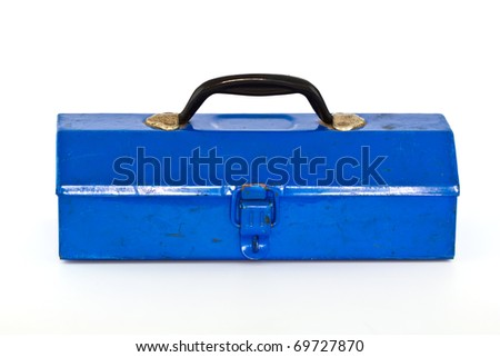 Blue toolbox - isolated on white background.