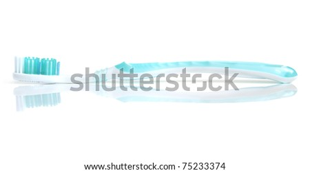 Blue tooth-brush on a white background