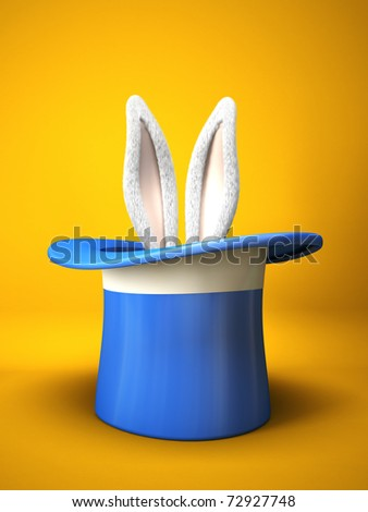 Blue top hat with rabbit ears  isolated on yellow background 3D