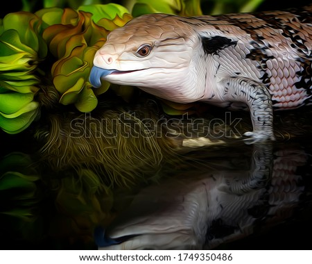 Blue Tounge Monitor Lizard of Papua Indonesia - Oil Painting Art Nature Illustration