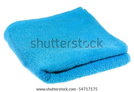 blue towel on white background