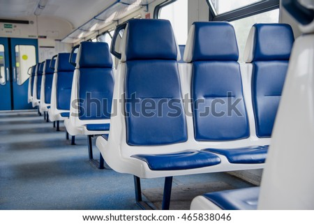 blue train interior - Shutterstock ID 465838046