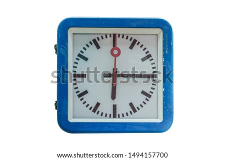 blue train station clock with white plate on a white background blacked pointers  one red pointer #1494157700
