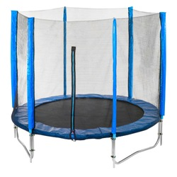 blue Trampoline with safety net isolated on white