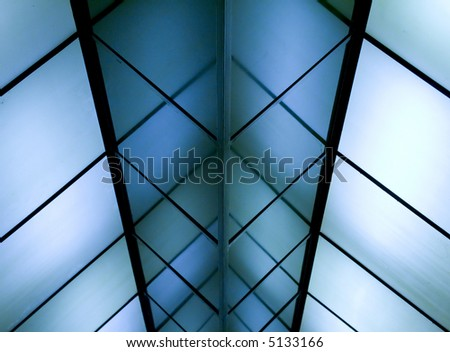 Blue transparent ceiling of an office building