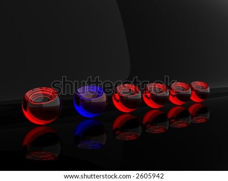 Blue transparent sphere in surrounding of red spheres on black - stock photo