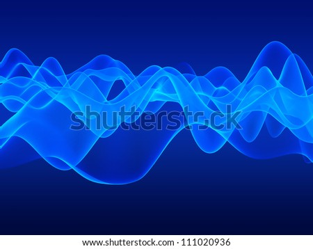 Blue transparent waves abstract, gradient background