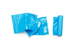 Blue trash bag on an isolated white background. The concept of cleaning, garbage removal. Flat lay, top view