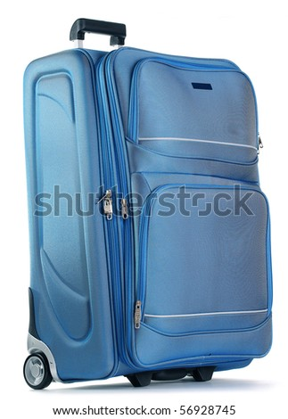 Blue travel bag isolated on white