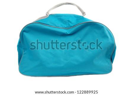 blue travel bag isolated on white background