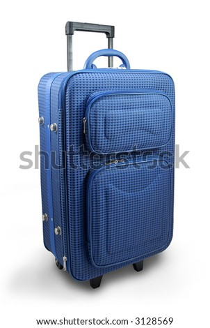 Blue travel suitcase - isolated