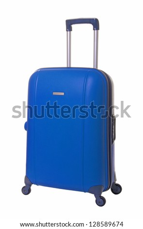 blue travel suitcase isolated on white background