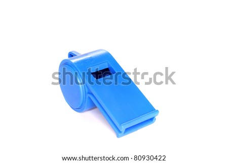 blue Trill whistle on a white background
