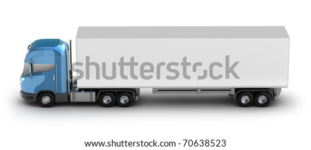 Blue truck with trailer. My own design isolated on white