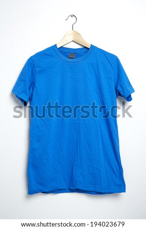 Blue tshirt template on hanger ready for your own graphics.