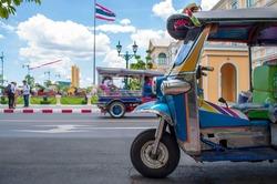 Blue Tuk Tuk, a traditional local taxi in Bangkok, Thailand