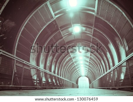 blue tunnel , vanishing point, technology abstract