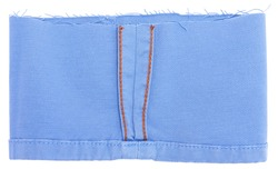 Blue twill retail, orange stitching, lining and tattered, on white background