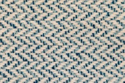 Blue twill woven multicoloured linen weave fabric texure with herringbone pattern