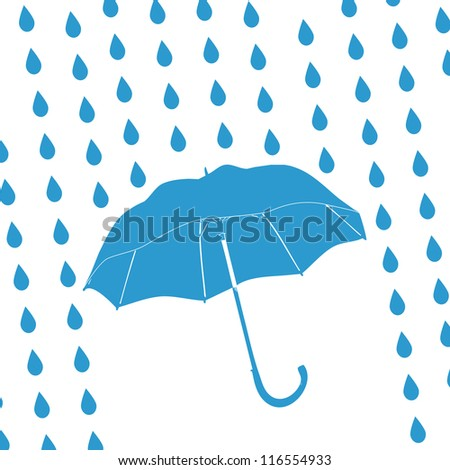 blue umbrella and rain drops